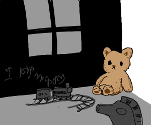 Teddy bear in a child's room
