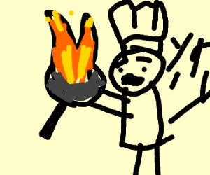 chef is so proud of his burnt food :)