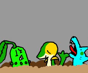 Snivy, chikorita and  bulbasaur stuck in mud