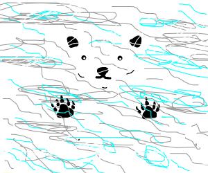 A polar bear in a snow storm
