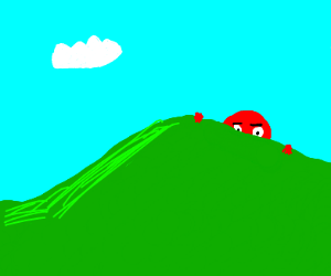 red giant peeks over hill