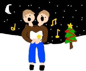 2 headed man sings christmas carols