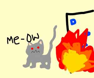 Robot cat coming out of fire