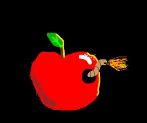 A fire-breathing apple worm