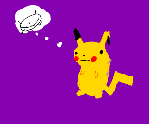 pikachu thinking about something