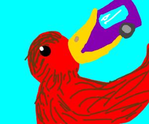 Giant bird eats a bus