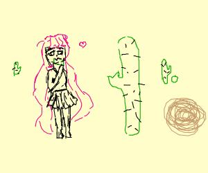 girl biting cactus hank