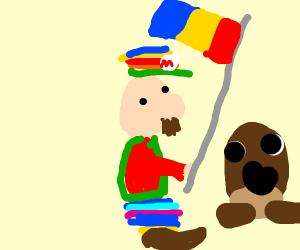 Rainbow Mario with Romanian flag