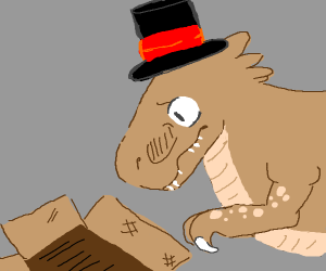 A Stylish but Sad T-Rex looks into a box