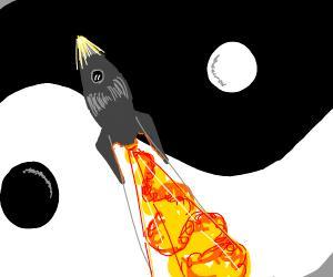 rocketship flying past yin and yang