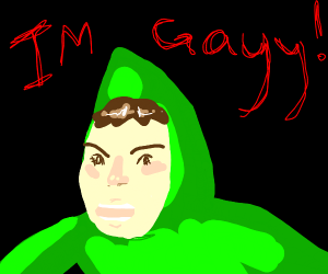 "green man ""im gay"""