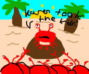 A crab shouts about his divorce atop a rock