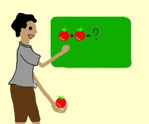 Teacher teaching math with tomatoes