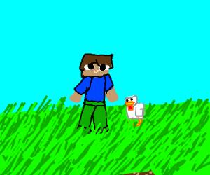 Minecraft steve & chicken