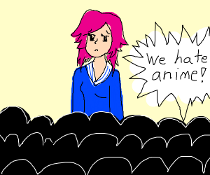 """crowd says """"we hate anime"""" at a anime girl"""