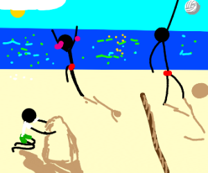 3 stick men at beach