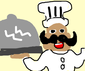 chef and giant cloch