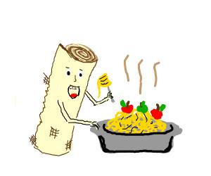 Papyrus eating apple spaghetti