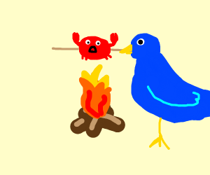 Bluebird cooks fiddler crab over campfire.