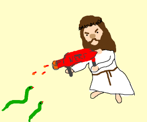 jesus attacking snakes with a nerf gun