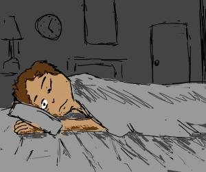 human pretending to sleep