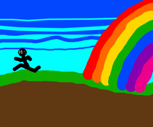 Man terrified of approaching rainbow