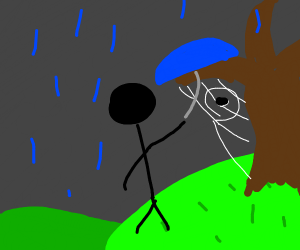 guy protecting spider from rain