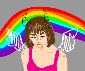 Angry horned angel lady w rainbow