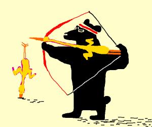 bear shooing away a bird