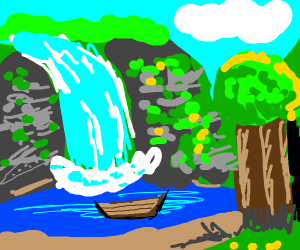 A boat and waterfall