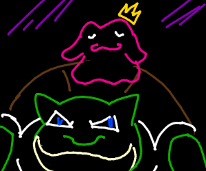 Green Blastoise with King Ditto on his shell