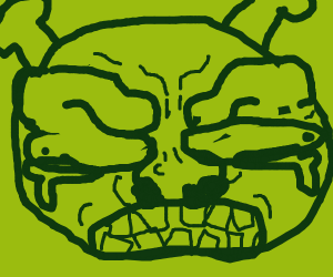 zoomed in crying angry green face