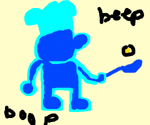 Mr. GameAndWatch as a blue chef