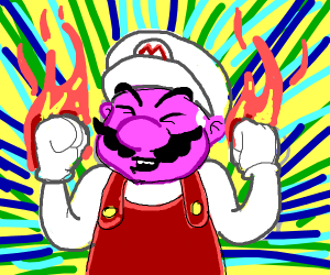 Mario, powered up by a fire flower