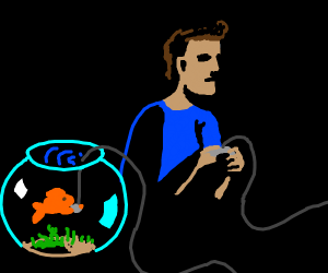 Dude playing with his pet goldfish