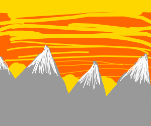 Three sunsets over mountains