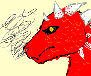Big red dragon with smoke out of his nose