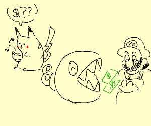 chain chomp steals pikachu's money for mario