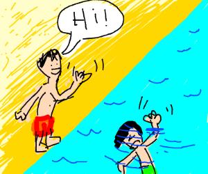 "swimmer wants help, not a ""hi"""