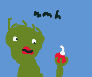 Sassy Grinch holds an Xmas decoration