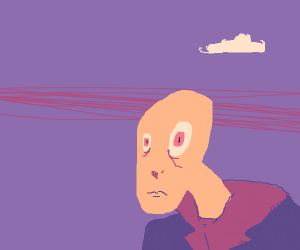 This bald man in a purple shirt is thinking.