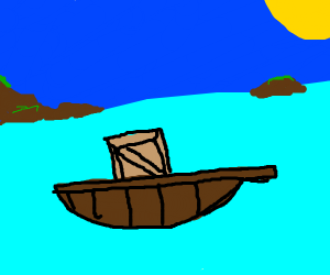 a box on a boat