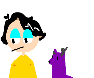 guy with purple dog with horn