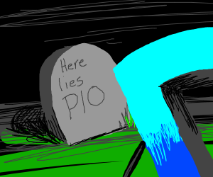 """Grave that says """"Here lies PIO"""" w/ D watching"""