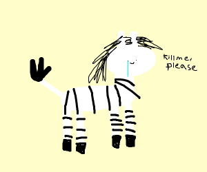 A zebra that is not ok