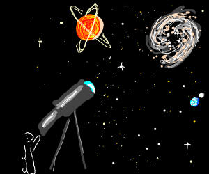 Using telescope to look at the stars