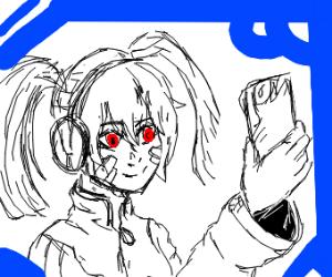 Anime girl taking selfie