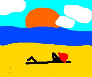 Firefighter on a Beach