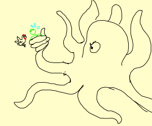 Giant octopus attacks green man w/ chickenp