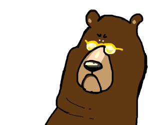 Bear with yellow shades